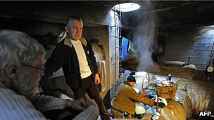 Homeless shelter in underground heating duct, Warsaw, 2 Feb 12 