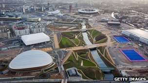 Aerial shot of the Olympic Park in east London