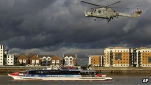 Military helicopter over River Thames in security exercise
