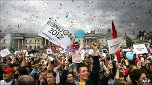 Crowds in Trafalgar Square after London 2012 announcement