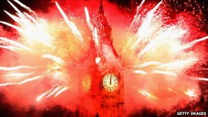 Fireworks and Big Ben on the eve of 2012