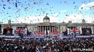 Ticker tape falling at Olympic celebration