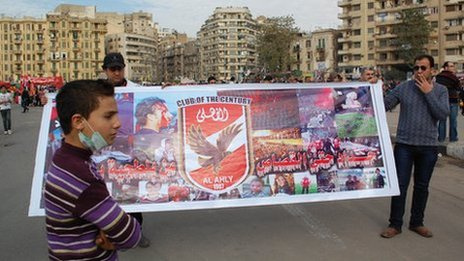Al-Ahly club banner, Cairo (3 February)