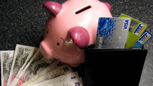 A piggy bank and wallet