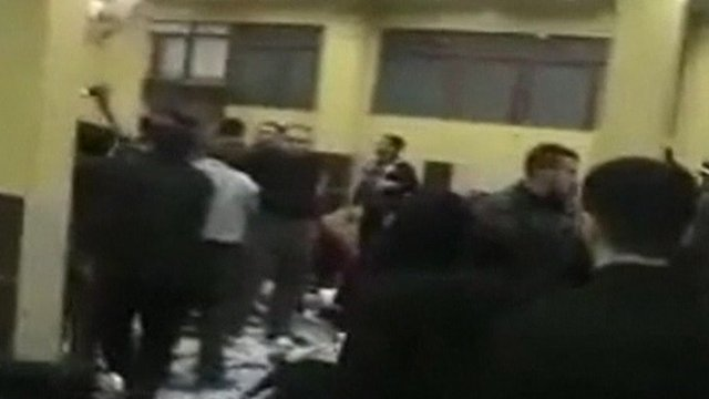 Unverified amateur footage appears to show chaotic scenes as the injured are treated