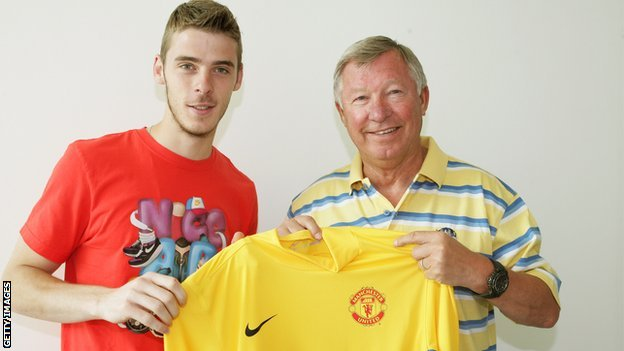 David de Gea and Sir Alex Ferguson