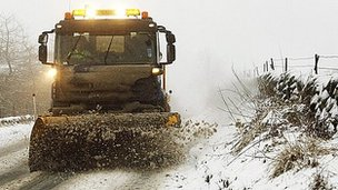 A snow plough clears the A93 near the Spittal of Glenshee, Tayside