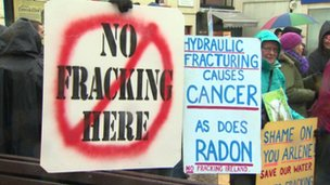 Anti fracking demonstration in Enniskillen