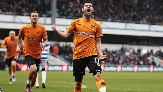 Wolves' Matt Jarvis celebrates scoring