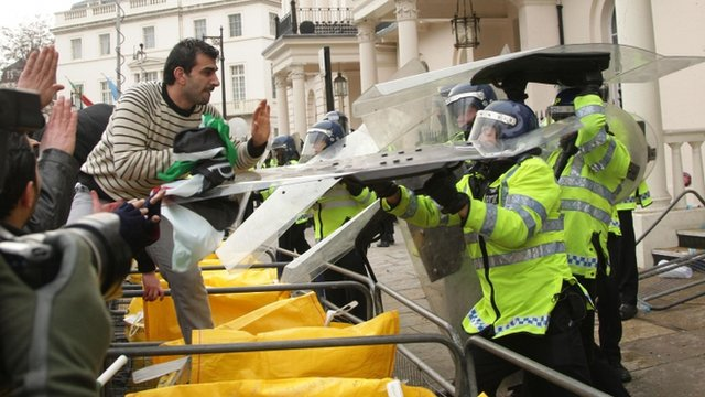Protest at Syrian embassy in London