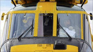 Prince William inside helicopter
