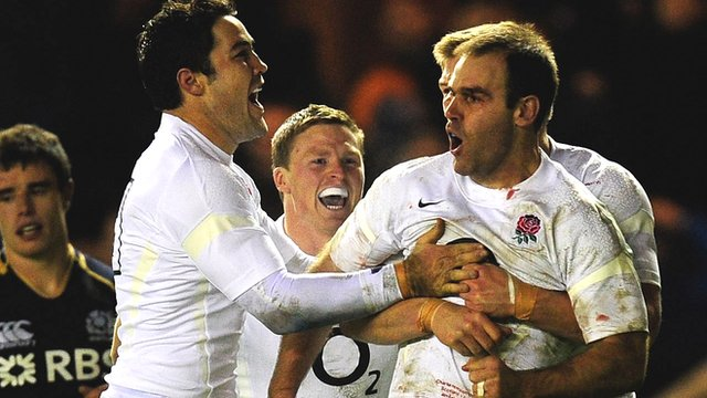 Charlie Hodgson celebrates his try for England