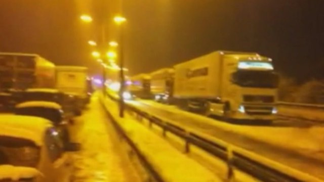 Cars stuck on the motorway