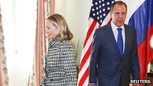 Hillary Clinton and Sergei Lavrov in Munich on 4 February 2012