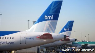 BMI aircraft parked at heathrow