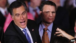 Mitt Romney (left) in Nevada. Photo: February 2012