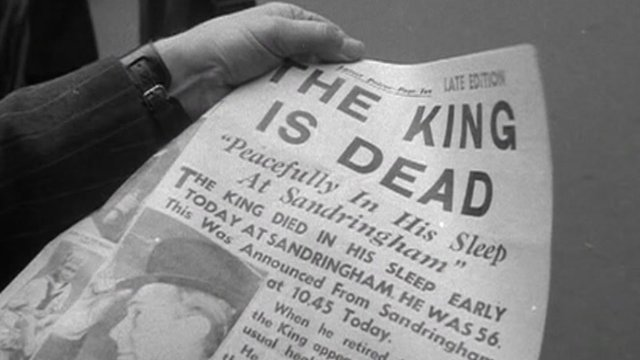 Newspaper announcing the death of George VI