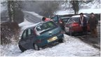 Car in ditch in Leicestershire