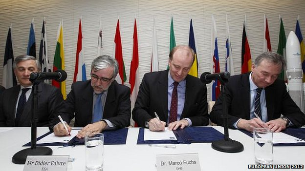 from left to right: Antonio Tajani, Didier Faivre, ESA Director of the Galileo Programme and Navigation-related Activities (D/NAV), Marco R Fuchs, CEO of OHB-System AG and Ingo Engeln, Galileo Program Director at OHB-System AG