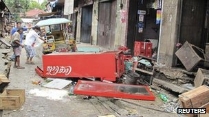 Damage caused by the quake in Negros Oriental, central Philippines