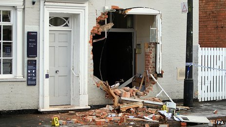 Hole left after cash machine theft in Bingham