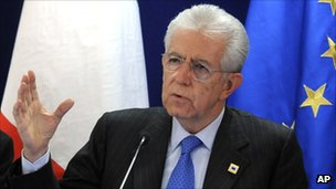 Italian PM Mario Monti speaks during a news conference in Brussels in January 2012