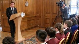 Prime Minister David Cameron takes questions from School Reporters