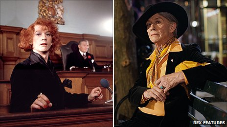 John Hurt as Quentin Crisp in (left) The Naked Civil Servant and (right) An Englishman in New York
