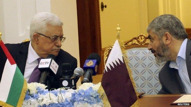 Palestinian President Mahmoud Abbas and Hamas leader Khaled Meshaal
