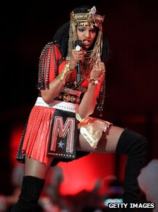 M.I.A. performs at the Super Bowl halftime show