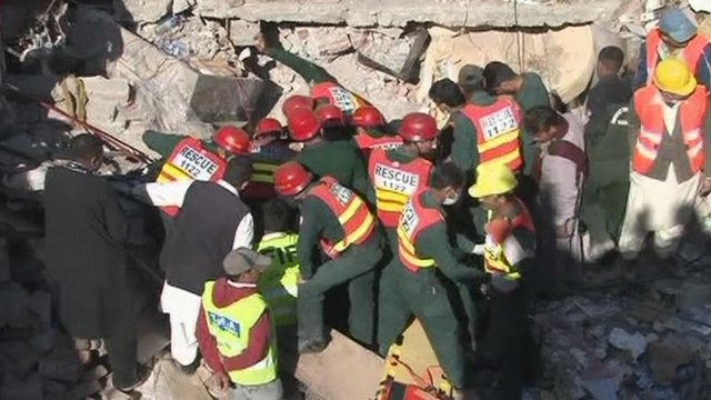The rescue operation to find people trapped in the factory rubble