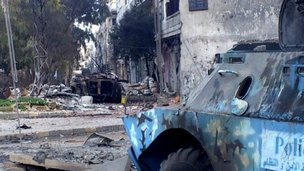 Wreckage from fighting in Khaldiyeh area in Homs. 4 Feb 2012