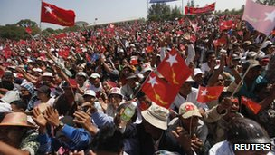 Supporters of Aung San Suu Kyi