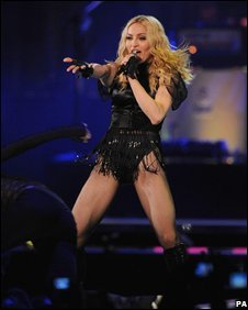Madonna on stage at the opening show of her Sticky and Sweet world tour in Cardiff
