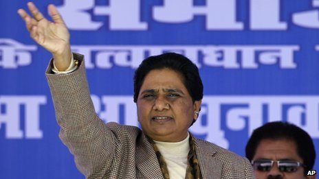 Mayawati addressing a rally in Sitapur