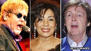 Sir Elton John, Dame Shirley Bassey and Sir Paul McCartney