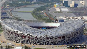 Aerial view of the Olympic stadium in Beijing