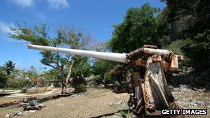Japanese three-inch gun at The Last Command Post on June 28, 2005 in Saipan, Northern Mariana Islands
