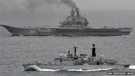 HMS Liverpool and Admiral Kuznetsov. Pic: Ian Simpson/MoD