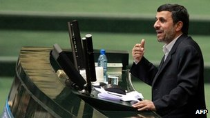 President Mahmoud Ahmadinejad addresses parliament (1 February 2012)