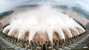 Water being discharged through the Three Gorges Dam, China