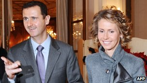 President Assad with wife Asma