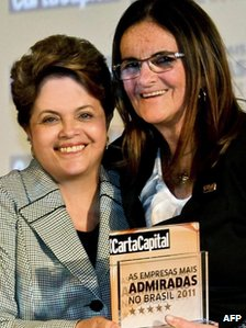 Brazilian President Dilma Rousseff (left) and Graca Foster (right) at an awards ceremony