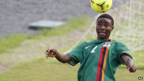 Zambia's Nathan Sinkala leaps to head the ball during a national team training session in Equatorial Guinea on 6 February 2012