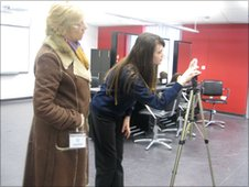 A School Reporter from Diss High School with her camera