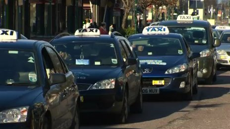 Taxis in Prestatyn on a go-slow in protest over changes to taxi-rank places