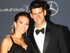 Novak Djokovic with his partner Jelena Rustic