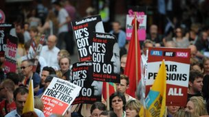 Demonstrators in central London as they take part in a protest through the capital against the UK government's plans for pension reform