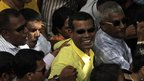 Mohamed Nasheed (in yellow shirt) during Wednesday's rally in Male