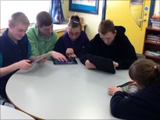 The Sandelford Special School pupils with their iPads